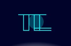 Te t e blue line circle alphabet letter logo icon template vecto. Te t e blue line circle letter logo alphabet creative company vector icon design template Stock Photography