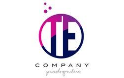 TE T E Circle Letter Logo Design with Purple Dots Bubbles. TE T E Circle Letter Logo Design with Purple Magenta Dots Bubbles Vector Illustration Royalty Free Stock Photos