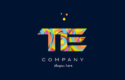 Te t e colorful alphabet letter logo icon template vector Royalty Free Stock Image