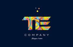 Te t e colorful alphabet letter logo icon template vector. Te t e alphabet letter logo colors colorful rainbow acrylic font creative text dots company vector Royalty Free Stock Image