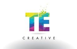 TE T E Colorful Letter Origami Triangles Design Vector. TE T E Colorful Letter Design with Creative Origami Triangles Rainbow Vector Stock Image