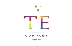 Te t e  creative rainbow colors alphabet letter logo icon Stock Photo
