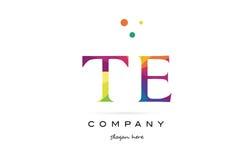 Te t e  creative rainbow colors alphabet letter logo icon. Te t e  creative rainbow colors colored alphabet company letter logo design vector icon template Stock Photo