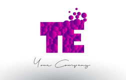 TE T E Dots Letter Logo with Purple Bubbles Texture. Stock Photo