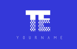 TE T E Dotted Letter Logo Design with Blue Background. TE T E Dotted Pattern Letter Logo Design Vector with Blue Background Royalty Free Stock Photo