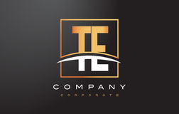 TE T E Golden Letter Logo Design with Gold Square and Swoosh. TE T E Golden Letter Logo Design with Swoosh and Rectangle Square Box Vector Design Stock Images
