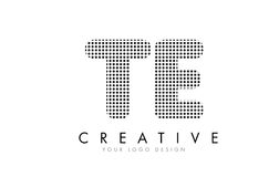 TE T E Letter Logo with Black Dots and Trails. TE T E Letter Logo Design with Black Dots and Bubble Trails Royalty Free Stock Photography