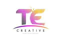 TE T E Letter Logo Design with Magenta Dots and Swoosh Stock Photo