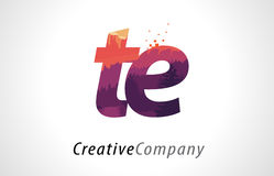 TE T E Letter Logo Design with Purple Forest Texture Flat Vector Stock Photos