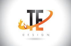 TE T E Letter Logo with Fire Flames Design and Orange Swoosh. Royalty Free Stock Photos