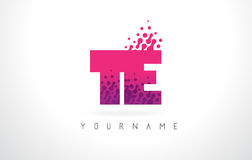 TE T E Letter Logo with Pink Purple Color and Particles Dots Des. TE T E Letter Logo with Pink Letters and Purple Color Particles Dots Design Stock Photos