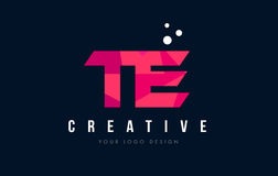 TE T E Letter Logo with Purple Low Poly Pink Triangles Concept Stock Photos