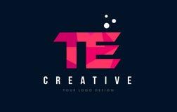 TE T E Letter Logo with Purple Low Poly Pink Triangles Concept. TE T E Purple Letter Logo Design with Low Poly Pink Triangles Concept Stock Photos