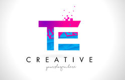 TE T E Letter Logo with Shattered Broken Blue Pink Texture Desig Royalty Free Stock Image