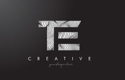 TE T E Letter Logo with Zebra Lines Texture Design Vector. Royalty Free Stock Photography