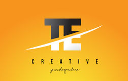 TE T E Letter Modern Logo Design with Yellow Background and Swoo. TE T E Letter Modern Logo Design with Swoosh Cutting the Middle Letters and Yellow Background Stock Photos