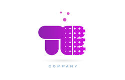 Te t e pink dots letter logo alphabet icon. Te t e pink dots dotted letter logo alphabet creative company vector icon design template Stock Photography