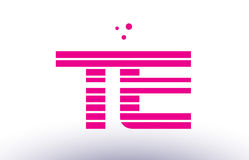 Te t e pink purple line stripe alphabet letter logo vector templ Royalty Free Stock Photography