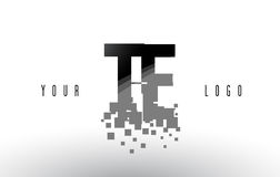 TE T E Pixel Letter Logo with Digital Shattered Black Squares Royalty Free Stock Images