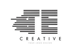 TE T E Zebra Letter Logo Design with Black and White Stripes Stock Image