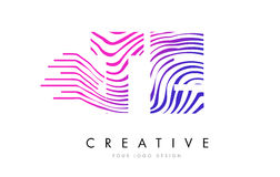 TE T E Zebra Lines Letter Logo Design with Magenta Colors Royalty Free Stock Photos