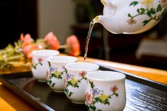 Te teservis, tekultur, dagligt liv av mest kinesiskt i söderna arkivbild
