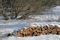 Te verdelen brandhout gestapeld onder de sneeuw stock foto