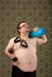 Te zwaar wit mannetje na succesvolle training Stock Afbeelding