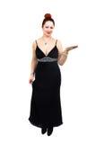 Te zware dame met modieuze zwarte kleding Stock Foto's