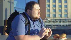 Te zware mannelijke het kauwen hamburger, ongezonde bureaulunch, spijsverteringsproblemen stock video