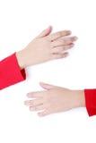 Te zware vrouwelijke handen die lege raad houden Stock Fotografie