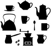 Tea – Coffee time (Crockery). Simple vector illustrations isolated on white background. Kitchen utensils – tea and coffee cups and mugs, teapot, kettle Royalty Free Stock Photos