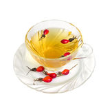 Tea. Green tea with hips in glass cup isolated on white background. (with clipping path Stock Photo