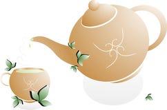 Tea. Green tea, brown teapot, original design Stock Photography