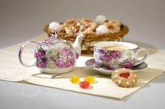 Tea. Service, sweets and cookies Royalty Free Stock Images