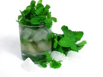 Tea. Green tea and mint leaves on ice glass Stock Images