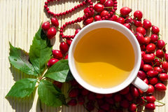Tea. Autumn still life with cup of tea, rose-hips and leaf of creeper Stock Image