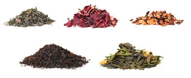 Tea. Five types of tea on a white background Royalty Free Stock Image