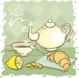 Tea. Still-life with a teapot and a lemon Stock Photo