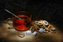 Tea. And crackers,sugar,still life Stock Photo