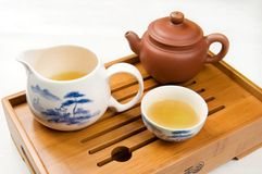 Tea. Pot and cups filled with Royalty Free Stock Photo