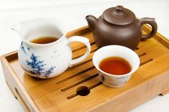 Tea. Pot and cups filled with Royalty Free Stock Photography