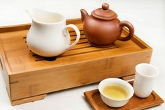 Tea. Pot and cups filled with Stock Image