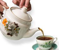 Tea. Pot and cup of  on a white background Royalty Free Stock Photography
