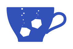 Tea. Vector image - a tea cup and lumps of sugar silhouette Royalty Free Stock Image