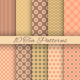 Tea abstract vector seamless patterns (tiling,. 10 Tea abstract vector seamless patterns (tiling, with swatch). Set of shabby geometric ornaments. Vintage colors stock illustration