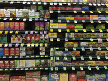 Tea aisle of a grocery store Royalty Free Stock Photos