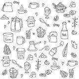 Tea and all stuff - Hand-drawn seamless vector Stock Photography