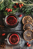 Tea with anise and pomegranate Stock Photo