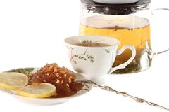 Tea with Apple jam  and lemon isolated Royalty Free Stock Images